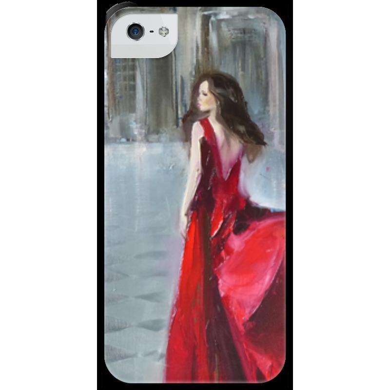 Чехол для iPhone 5 с подставкой, с полной запечаткой Printio Девушка в красном куплю еврозаборы в красном луче