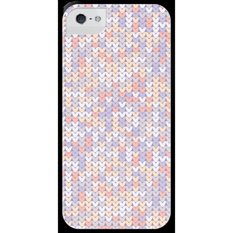 Чехол для iPhone 5 с подставкой, с полной запечаткой Printio Сиреневый вязаный узор стоимость