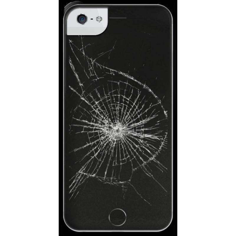 Чехол для iPhone 5 с подставкой, с полной запечаткой Printio Разбитый экран купить экран для iphone 4