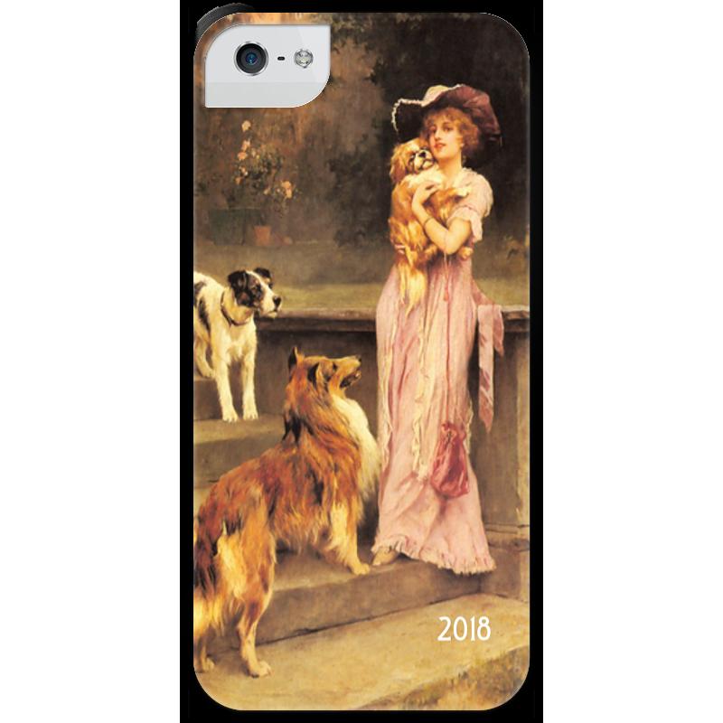 Чехол для iPhone 5 с подставкой, с полной запечаткой Printio 2018 год собаки старый новый год с денисом мацуевым