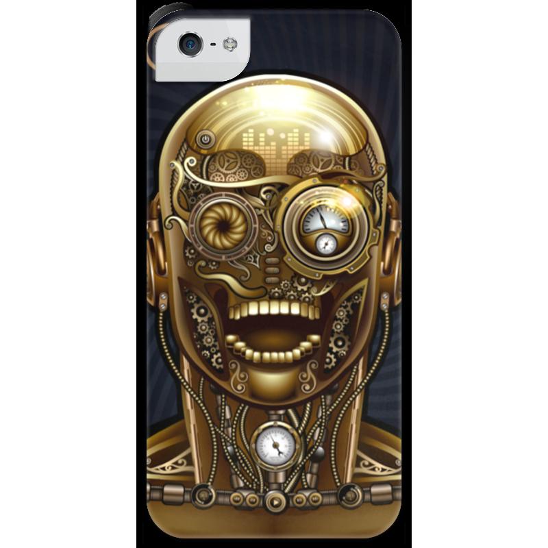 Чехол для iPhone 5 с подставкой, с полной запечаткой Printio Стимпанк-голова стоимость