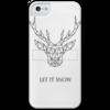 """Чехол для iPhone 5 с подставкой, с полной запечаткой """"Dear Deer"""" - рисунок, дизайн, олень, минимализм, рога"""