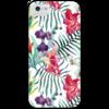 """Чехол для iPhone 5 с подставкой, с полной запечаткой """"Тропические цветы"""" - милый, лето, пальма, орхидея, женственно"""