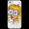"""Чехол для iPhone 5 с подставкой, с полной запечаткой """"Без ума от цветов"""" - любовь, девушка, цветы, сердца, блондинка"""