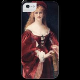 """Чехол для iPhone 5 с подставкой, с полной запечаткой """"Портрет аристократки из Венеции"""" - картина, кабанель"""