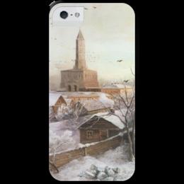 """Чехол для iPhone 5 с подставкой, с полной запечаткой """"Сухарева башня"""" - картина, саврасов"""