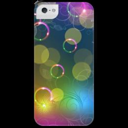 """Чехол для iPhone 5 с подставкой, с полной запечаткой """"Калейдоскоп"""" - цветы, абстракция"""