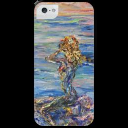 """Чехол для iPhone 5 с подставкой, с полной запечаткой """"Русалка"""" - девушка, лето, summer, море, sea, beach"""