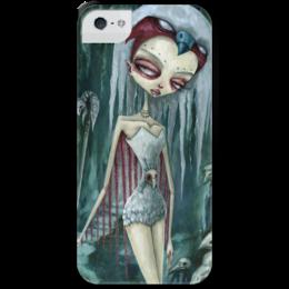 """Чехол для iPhone 5 с подставкой, с полной запечаткой """"Девушка (зомби)"""" - девушка, хэллоуин, зомби, птица, ворон"""