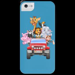 """Чехол для iPhone 5 с подставкой, с полной запечаткой """"Сафари"""" - животные, машина"""