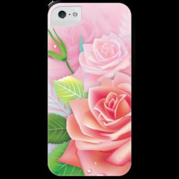 """Чехол для iPhone 5 с подставкой, с полной запечаткой """"Розочка"""" - цветок, роза"""
