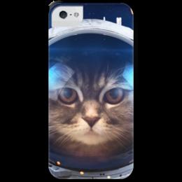 """Чехол для iPhone 5 с подставкой, с полной запечаткой """"Котосмонавт"""" - кот, космос, животное, костюм"""