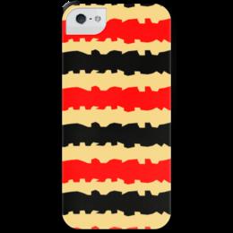 """Чехол для iPhone 5 с подставкой, с полной запечаткой """"Полоски с рванными краями"""" - черный, красный, бежевый, полоски, рванные"""