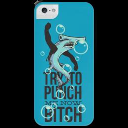 """Чехол для iPhone 5 с подставкой, с полной запечаткой """"Акула"""" - прикол, рисунок, акула"""