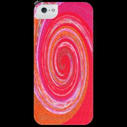 """Чехол для iPhone 5 с подставкой, с полной запечаткой """"Завихрение красного"""" - красный, розовый, круги, полоски, смешение"""