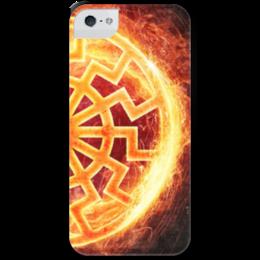"""Чехол для iPhone 5 с подставкой, с полной запечаткой """"ПЛАМЯ!!!"""" - солнце, огонь, коловрат, славяне, перун"""