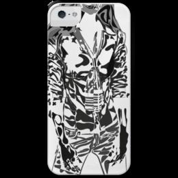 """Чехол для iPhone 5 с подставкой, с полной запечаткой """"Шейный платок"""" - девушка, фигура, черный, галстук, рубашка"""