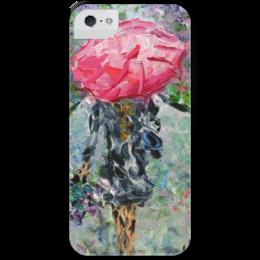 """Чехол для iPhone 5 с подставкой, с полной запечаткой """"Запах дождя"""" - девушка, город, прогулка, парк, сирень"""