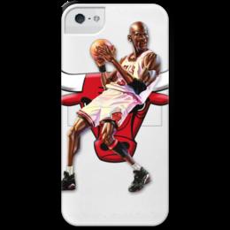 """Чехол для iPhone 5 с подставкой, с полной запечаткой """"Michael Jordan Cartooney"""" - 23, чикаго, бык, chicago bulls, джордан"""