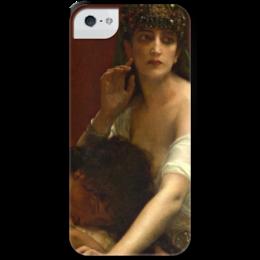 """Чехол для iPhone 5 с подставкой, с полной запечаткой """"Самсон и Далила (картина Кабанеля)"""" - картина, кабанель"""