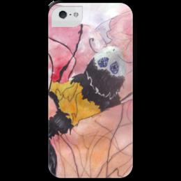 """Чехол для iPhone 5 с подставкой, с полной запечаткой """"Шмель"""" - арт, summer, оригинально, шмель, серебро, летит, bumblebee"""