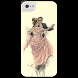 """Чехол для iPhone 5 с подставкой, с полной запечаткой """"День Святого Валентина"""" - настроение, картина, винтаж, 14фев, harrison fisher"""