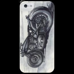 """Чехол для iPhone 5 с подставкой, с полной запечаткой """"Мотоцикл"""" - мотоцикл, harley, боббер"""