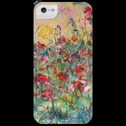 "Чехол для iPhone 5 с подставкой, с полной запечаткой ""Закат"" - цветы, red, summer, красота, flowers, небо, закат, маки, sunset, poppy"