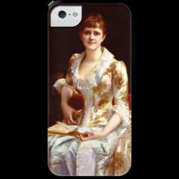 """Чехол для iPhone 5 с подставкой, с полной запечаткой """"Портрет молодой леди"""" - картина, кабанель"""