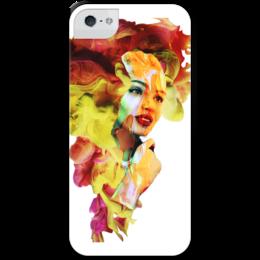 """Чехол для iPhone 5 с подставкой, с полной запечаткой """"Цвет 2017"""" - лицо, красный, ярко, желтый, 2017"""