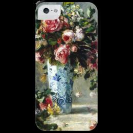 """Чехол для iPhone 5 с подставкой, с полной запечаткой """"Картины"""" - искусство, художник, пьер ренуар, розы и жасмин в дельфтской вазе"""