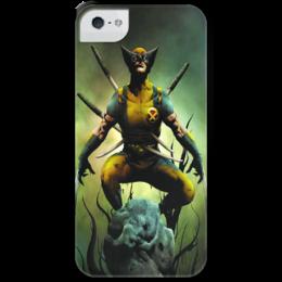"""Чехол для iPhone 5 с подставкой, с полной запечаткой """"Fun-xman """" - x-men, wolverine, marvel, супергерой, superhero"""