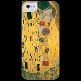 """Чехол для iPhone 5 с подставкой, с полной запечаткой """"Поцелуй (картина Климта)"""" - картина, климт"""