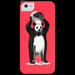 """Чехол для iPhone 5 с подставкой, с полной запечаткой """"Панда в краске"""" - bear, медведь, панда, panda, краска"""