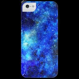 """Чехол для iPhone 5 с подставкой, с полной запечаткой """"Космос (синий)"""" - космос, космос синего цвета, blue space, galaxy, nebula"""
