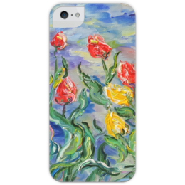 """Чехол для iPhone 5 с подставкой, с полной запечаткой """"Тюльпаны"""" - арт, лето, май, tulips"""