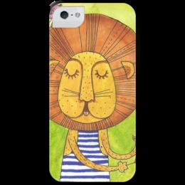 """Чехол для iPhone 5 с подставкой, с полной запечаткой """"Лев Бонифаций в тельняжке"""" - лев, акварель, грива, бонифаций, тельняжка"""