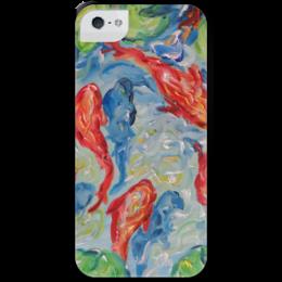 """Чехол для iPhone 5 с подставкой, с полной запечаткой """"Золотые рыбки"""" - арт, пруд, нужен подарок, для рыб, где купить недорогой и красивый подарок"""