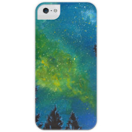 """Чехол для iPhone 5 с подставкой, с полной запечаткой """"Звездная ночь"""" - звезды, ночь, пейзаж, иллюстрация, авторская работа"""
