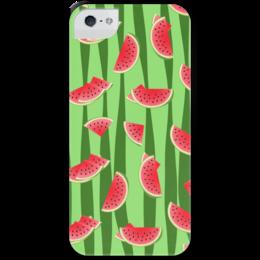 """Чехол для iPhone 5 с подставкой, с полной запечаткой """"Арбуз"""" - полоска, красный, ягода, зеленый, семена"""
