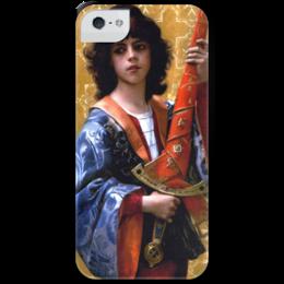 """Чехол для iPhone 5 с подставкой, с полной запечаткой """"Паж (картина Кабанеля)"""" - картина, кабанель"""
