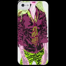"""Чехол для iPhone 5 с подставкой, с полной запечаткой """"Шейный платок"""" - девушка, галстук, фиолетовый, зеленый, желто-зеленый"""