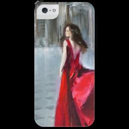 """Чехол для iPhone 5 с подставкой, с полной запечаткой """"Девушка в красном"""" - red, beautiful, dress, красное платье, девушка в красном, red dress"""