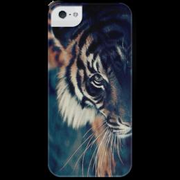 """Чехол для iPhone 5 с подставкой, с полной запечаткой """"Тигр """" - праздник, животные, тигр, подарк"""