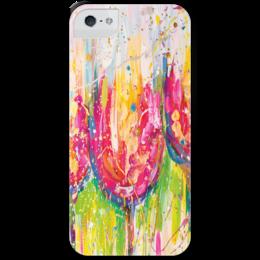 """Чехол для iPhone 5 с подставкой, с полной запечаткой """"Tulips """" - арт, лето, цветы, тюльпаны, авторский принт, kosa"""