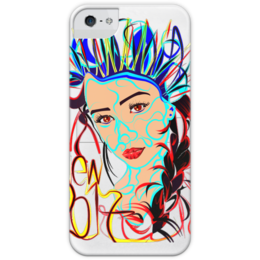 """Чехол для iPhone 5 с подставкой, с полной запечаткой """"Снегурочка New 2017"""" - снегурочка"""
