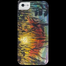 "Чехол для iPhone 5 с подставкой, с полной запечаткой ""Закат"" - арт, лето, summer, солнце, sun, sunset"