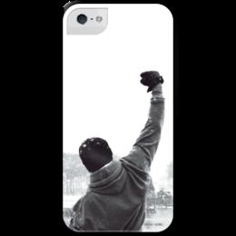"""Чехол для iPhone 5 с подставкой, с полной запечаткой """"Рокки"""" - rocky, бокс, сталлоне, боксер, спорт"""