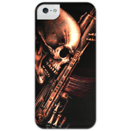 """Чехол для iPhone 5 с подставкой, с полной запечаткой """"ДО КОНЦА!!!"""" - skull, череп, weapon, ак, ржавчина"""