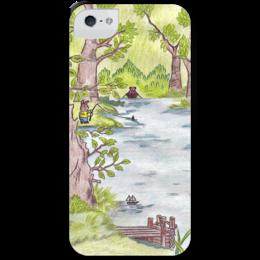 """Чехол для iPhone 5 с подставкой, с полной запечаткой """"Лесная сказка"""" - рисунок, лес, fairy tale, лесная сказка"""